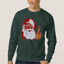 Retro Black Santa Claus with Beer Funny Christmas Sweatshirt