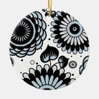 Retro Black & Sky Blue Floral Pattern Double-Side Christmas Ornaments
