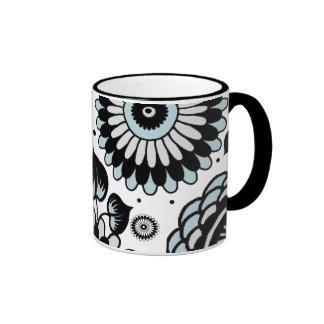 Retro Black & Sky Blue Floral Pattern Ringer Coffee Mug