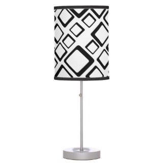Retro Black Squares On White Table Lamp