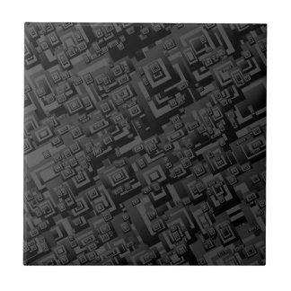 Retro Black Squares Pattern Small Tile