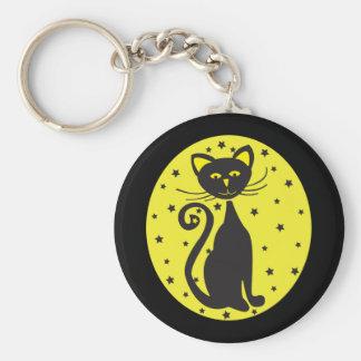 Retro Black Starry Cat Keychain