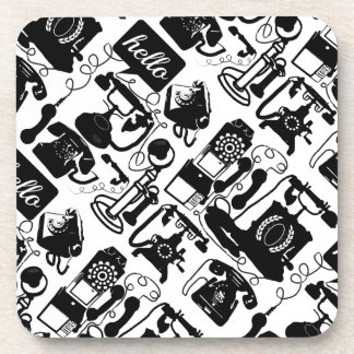 Retro Black Telephone Pattern Beverage Coaster