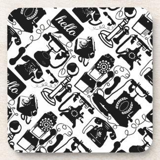 Retro Black Telephone Pattern Coasters