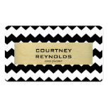 Retro Black White and Beige Chevron Pattern Business Cards