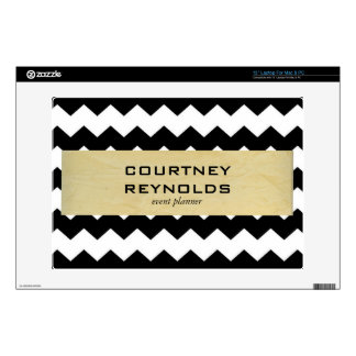 Retro Black White and Beige Chevron Pattern Decals For Laptops