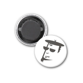 Retro Black & White Beatnik Hipster Refrigerator Magnet