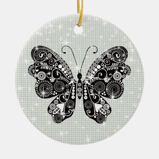Retro Black & White Butterfly Ceramic Ornament