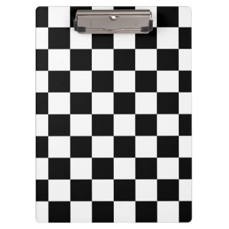 Retro Black/White Contrast Checkerboard Pattern Clipboard