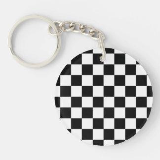 Retro Black/White Contrast Checkerboard Pattern Acrylic Key Chain