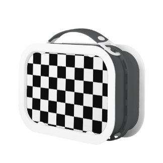 Retro Black White Contrast Checkerboard Pattern Yubo Lunchbox