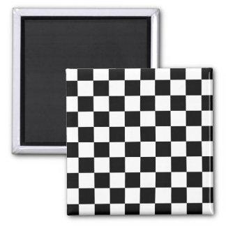 Retro Black/White Contrast Checkerboard Pattern Fridge Magnets