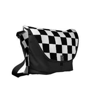 Retro Black/White Contrast Checkerboard Pattern Messenger Bag