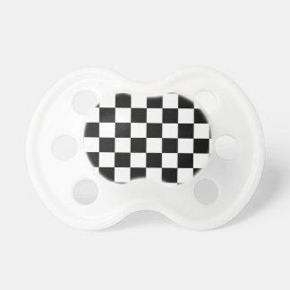 Retro Black/White Contrast Checkerboard Pattern Pacifier