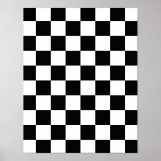 Retro Black/White Contrast Checkerboard Pattern Poster