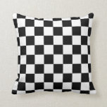 Retro Black/White Contrast Checkerboard Pattern Throw Pillow