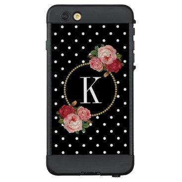 Retro Black White Dot Vintage Floral Gold Monogram LifeProof NÜÜD iPhone 6 Plus Case