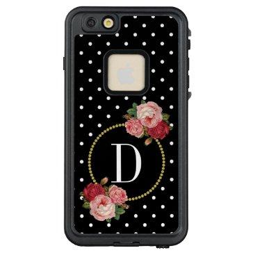 Retro Black White Dots Fun Vintage Floral Monogram LifeProof FRĒ iPhone 6/6s Plus Case