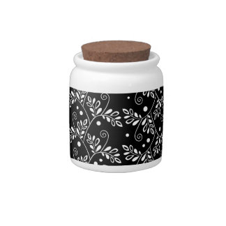 Retro black white floral Candy Jar