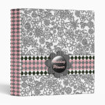 Retro Black White Floral Checked Customizable 3 Ring Binder