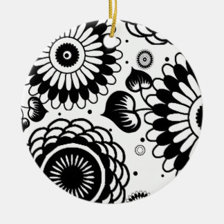 Retro Black & White Floral Pattern Double-Side Christmas Tree Ornaments