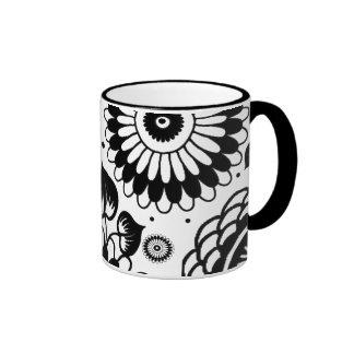 Retro Black & White Floral Pattern Ringer Mug