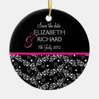 Retro black white floral 'Save the date'  Ornament