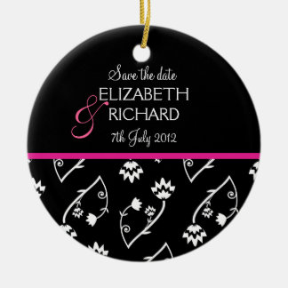 Retro black white flower 'Save the date'  Ornament