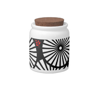 Retro black white flowers Candy Jar
