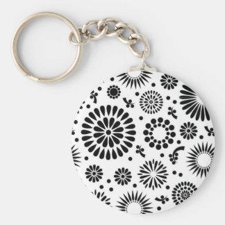 Retro black white flowers Keychain