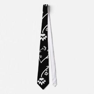 Retro black white flowers Tie