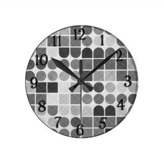 Retro Black & White Geometric Pattern Round Clock