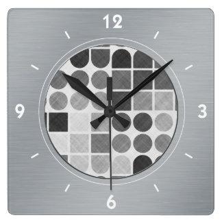 Retro Black & White Geometric Pattern Square Wall Clock