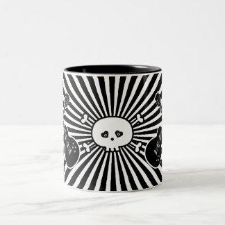 Retro Black & White Guitars & Skull Coffee Mugs