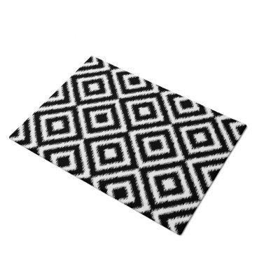 CozyLivin Retro Black White Ikat Diamond Squares Pattern Doormat