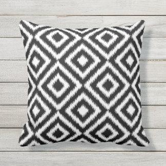 Retro Black White Ikat Diamond Squares Pattern Throw Pillow