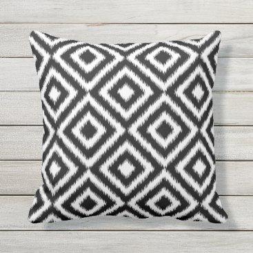 CozyLivin Retro Black White Ikat Diamond Squares Pattern Throw Pillow