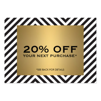 Retro Black White Pattern Gold Name Coupon Card Large Business Cards (Pack Of 100)