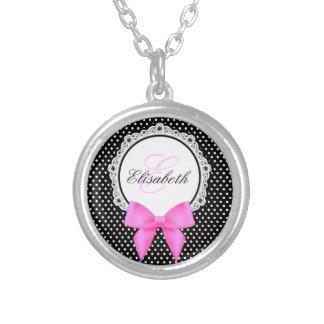 Retro black white polka dot pink bow monogram name silver plated necklace