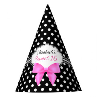 Retro black white polka dot sweet 16 girl birthday party hat