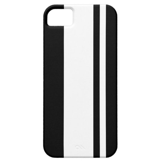Retro Black & White Race Car Stripes Car Inspired iPhone SE/5/5s Case