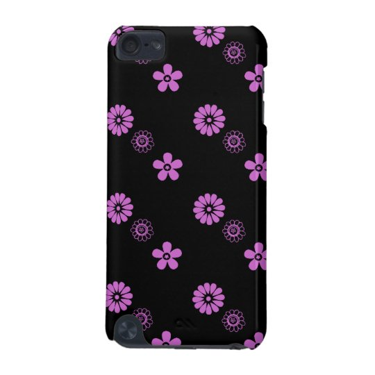 Retro Black with Custom Changing Color Flowers iPod Touch (5th Generation) Case