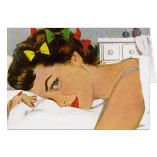 Retro Blank Card Cute Pillow Talk Gal Lady Woman