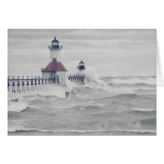 Retro Blank Superstorm Lake Michigan Lighthouse Card