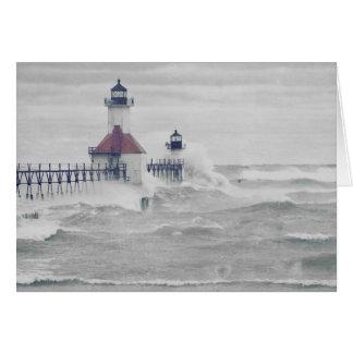 Retro Blank Superstorm Lake Michigan Lighthouse Card