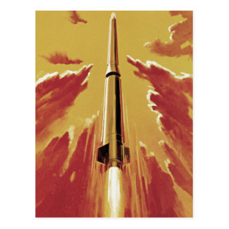 Retro Blast Off Rocket Postcard
