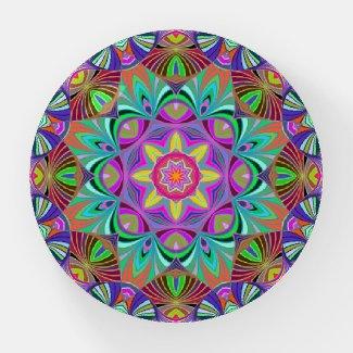 Retro Bliss Kaleidoscope Mandala Paperweight