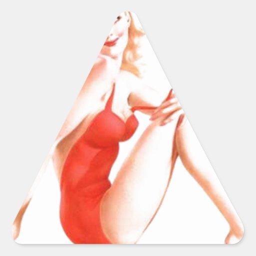 Retro Blonde Pin Up Girl Triangle Sticker