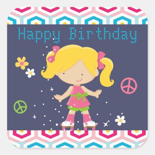 Retro Blonde Roller Skating Birthday Square Sticker