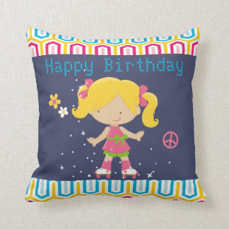 Retro Blonde Roller Skating Birthday Throw Pillow